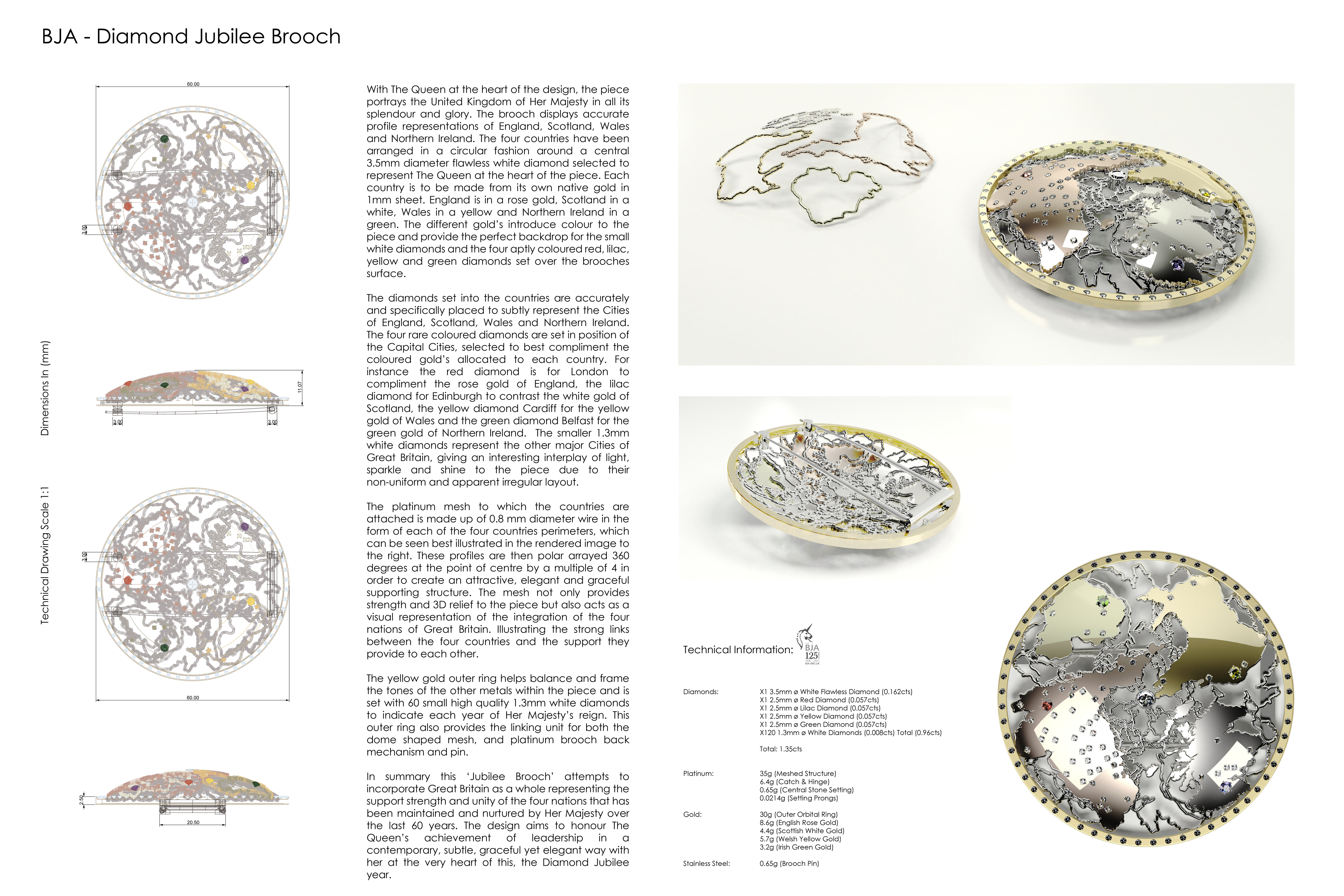 Design Board – Jubilee Brooch – Copyright BJRdesigns